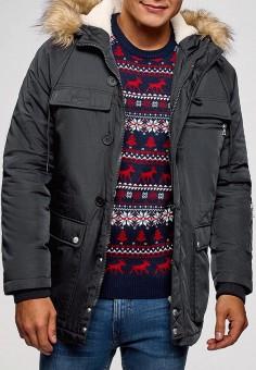 Куртка утепленная, oodji, цвет: серый. Артикул: OO001EMDAGI6. Одежда