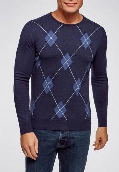 Джемпер, oodji, цвет: синий. Артикул: OO001EMEAOY2. Одежда / Джемперы, свитеры и кардиганы / Джемперы и пуловеры