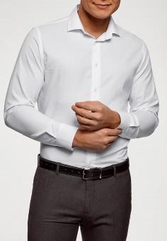 Рубашка, oodji, цвет: белый. Артикул: OO001EMELXD2. Одежда / Рубашки / Рубашки с длинным рукавом