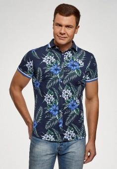 Рубашка, oodji, цвет: синий. Артикул: OO001EMFMZU4. Одежда / Рубашки