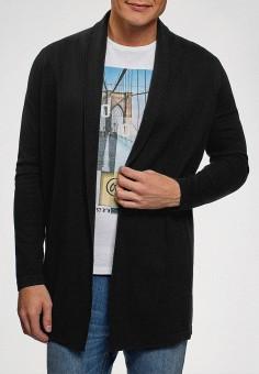 Кардиган, oodji, цвет: черный. Артикул: OO001EMGEXE5. Одежда / Джемперы, свитеры и кардиганы / Кардиганы