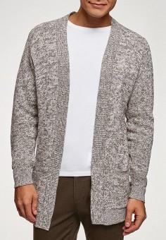 Кардиган, oodji, цвет: серый. Артикул: OO001EMGMFW9. Одежда / Джемперы, свитеры и кардиганы / Кардиганы