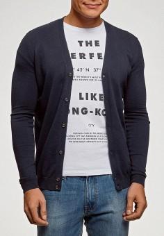 Кардиган, oodji, цвет: синий. Артикул: OO001EMGOQH0. Одежда / Джемперы, свитеры и кардиганы / Кардиганы