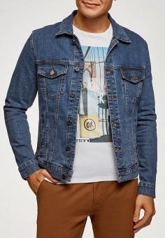 Куртка джинсовая, oodji, цвет: синий. Артикул: OO001EMGTPA9. Одежда / Верхняя одежда / Джинсовые куртки