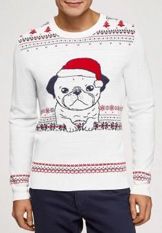 Джемпер, oodji, цвет: белый. Артикул: OO001EMHIGP0. Одежда / Джемперы, свитеры и кардиганы / Джемперы и пуловеры