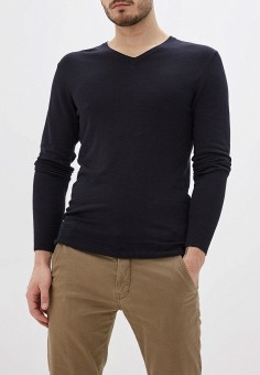 Пуловер, oodji, цвет: синий. Артикул: OO001EMHNZK9. Одежда / Джемперы, свитеры и кардиганы / Джемперы и пуловеры