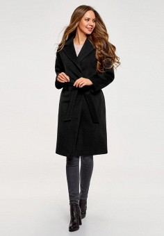 Пальто, oodji, цвет: черный. Артикул: OO001EWALAY1.