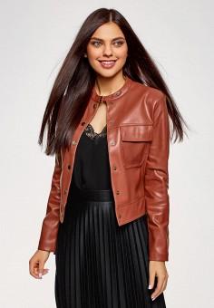 Куртка кожаная, oodji, цвет: коричневый. Артикул: OO001EWAMYI6.