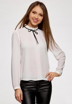 Блуза, oodji, цвет: белый. Артикул: OO001EWAPIW6.
