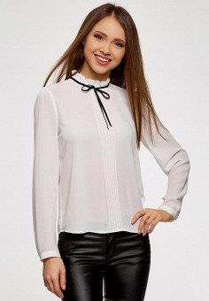 Блуза, oodji, цвет: белый. Артикул: OO001EWAPIW6. Одежда / Блузы и рубашки