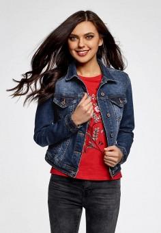 Куртка джинсовая, oodji, цвет: синий. Артикул: OO001EWASTS1.