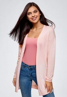 Кардиган, oodji, цвет: розовый. Артикул: OO001EWCEIU4. Одежда / Джемперы, свитеры и кардиганы / Кардиганы
