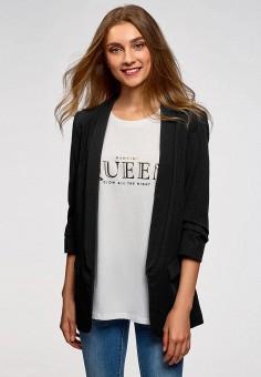 Жакет, oodji, цвет: черный. Артикул: OO001EWCIUU1. Одежда / Пиджаки и костюмы