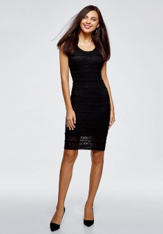 Платье, oodji, цвет: черный. Артикул: OO001EWCKCC5.