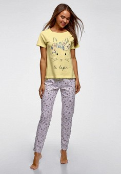 Пижама, oodji, цвет: мультиколор. Артикул: OO001EWCMIY0. Одежда / Домашняя одежда / Пижамы