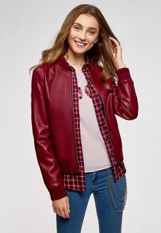 Куртка кожаная, oodji, цвет: бордовый. Артикул: OO001EWCSFY2. Одежда / Верхняя одежда / Кожаные куртки