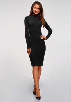 Платье, oodji, цвет: черный. Артикул: OO001EWCTZB2.