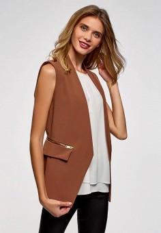 Жилет, oodji, цвет: коричневый. Артикул: OO001EWCUQO6. Одежда / Верхняя одежда / Жилеты