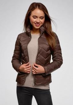 Куртка утепленная, oodji, цвет: коричневый. Артикул: OO001EWCWMO1. Одежда / Верхняя одежда / Демисезонные куртки