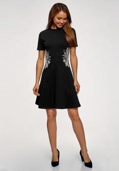 Платье, oodji, цвет: черный. Артикул: OO001EWDFOK1. Одежда