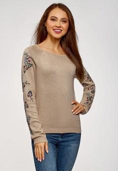 Джемпер, oodji, цвет: бежевый. Артикул: OO001EWDGWP8. Одежда / Джемперы, свитеры и кардиганы / Джемперы и пуловеры