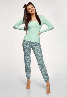 Пижама, oodji, цвет: бирюзовый. Артикул: OO001EWDUYS8. Одежда / Домашняя одежда / Пижамы