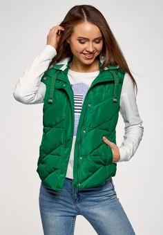 Жилет утепленный, oodji, цвет: зеленый. Артикул: OO001EWEAOT9. Одежда / Верхняя одежда / Жилеты