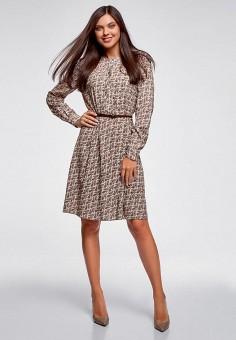 Платье, oodji, цвет: бежевый. Артикул: OO001EWEAOV5. Одежда / Платья и сарафаны / Повседневные платья