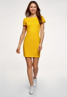 Платье, oodji, цвет: желтый. Артикул: OO001EWEBHV9.