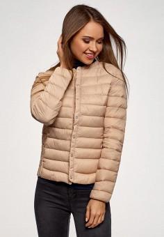 Куртка утепленная, oodji, цвет: бежевый. Артикул: OO001EWELWJ0. Одежда / Верхняя одежда / Демисезонные куртки