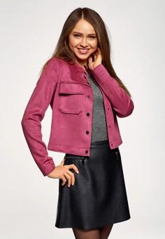 Куртка кожаная, oodji, цвет: розовый. Артикул: OO001EWELWZ8. Одежда / Верхняя одежда / Кожаные куртки