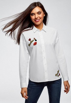 Рубашка, oodji, цвет: белый. Артикул: OO001EWEOAY0. Одежда / Блузы и рубашки