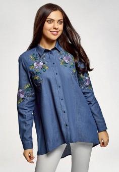 Рубашка, oodji, цвет: синий. Артикул: OO001EWEVBU0. Одежда / Блузы и рубашки / Рубашки