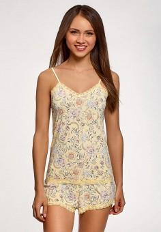 Пижама, oodji, цвет: желтый. Артикул: OO001EWEVBW9. Одежда / Домашняя одежда / Пижамы
