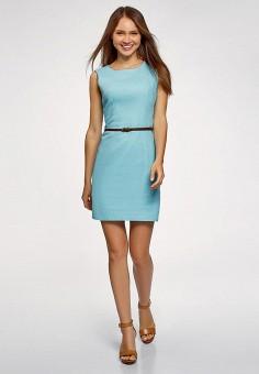 Платье, oodji, цвет: бирюзовый. Артикул: OO001EWFAAM1. Одежда / Платья и сарафаны