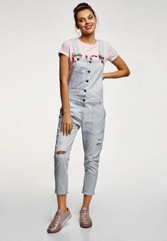Комбинезон джинсовый, oodji, цвет: голубой. Артикул: OO001EWFAAM6. Одежда / Комбинезоны