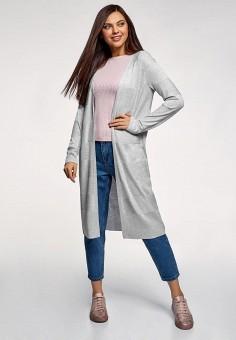Кардиган, oodji, цвет: серый. Артикул: OO001EWFAAS5. Одежда / Джемперы, свитеры и кардиганы / Кардиганы
