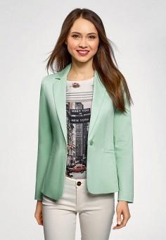 Жакет, oodji, цвет: бирюзовый. Артикул: OO001EWFCAA5. Одежда / Пиджаки и костюмы