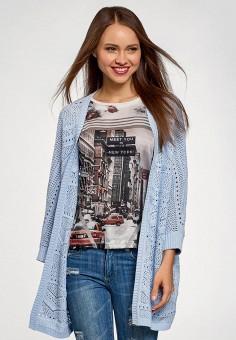 Кардиган, oodji, цвет: голубой. Артикул: OO001EWFCAD9. Одежда / Джемперы, свитеры и кардиганы / Кардиганы