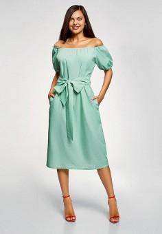 Платье, oodji, цвет: бирюзовый. Артикул: OO001EWFCSA6. Одежда / Платья и сарафаны