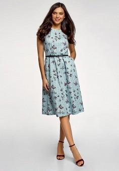 Платье, oodji, цвет: бирюзовый. Артикул: OO001EWFCSA8. Одежда / Платья и сарафаны / Повседневные платья