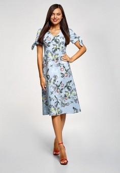 Платье, oodji, цвет: голубой. Артикул: OO001EWFFOH9. Одежда / Платья и сарафаны / Повседневные платья