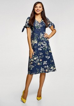 Платье, oodji, цвет: синий. Артикул: OO001EWFFOI0. Одежда / Платья и сарафаны
