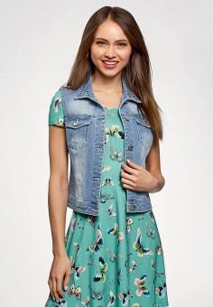 Жилет джинсовый, oodji, цвет: голубой. Артикул: OO001EWFFOI1. Одежда / Верхняя одежда / Жилеты