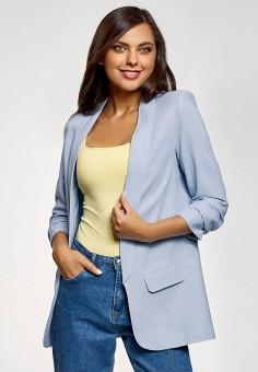 Жакет, oodji, цвет: голубой. Артикул: OO001EWFHBC2. Одежда / Пиджаки и костюмы
