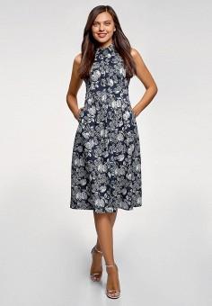 Платье, oodji, цвет: черный. Артикул: OO001EWFHBD3. Одежда / Платья и сарафаны / Повседневные платья