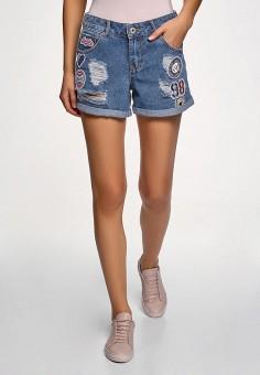 Шорты джинсовые, oodji, цвет: синий. Артикул: OO001EWFHUP5. Одежда / Шорты
