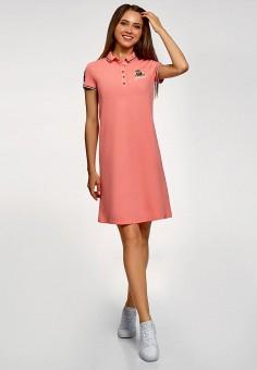 Платье, oodji, цвет: коралловый. Артикул: OO001EWFLPO8. Одежда / Платья и сарафаны