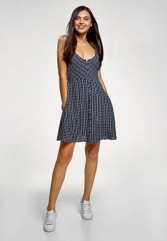 Платье, oodji, цвет: синий. Артикул: OO001EWFMFI2. Одежда / Платья и сарафаны / Повседневные платья