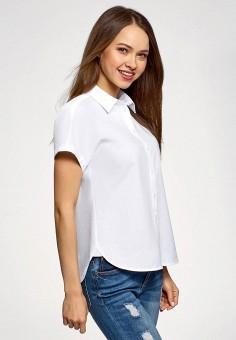 Блуза, oodji, цвет: белый. Артикул: OO001EWFRGC3. Одежда / Блузы и рубашки